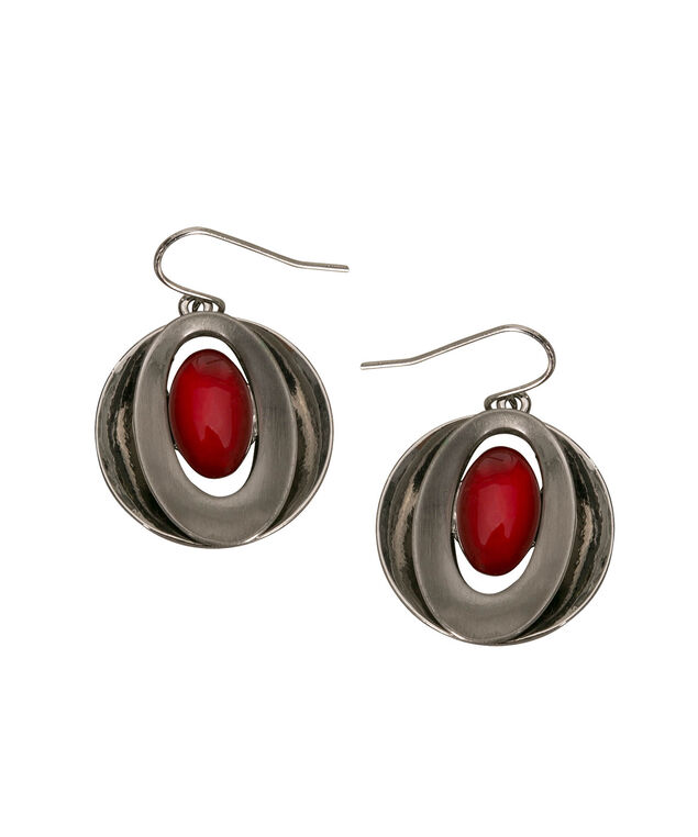 Cateye Double Disc Earring, Poppy/Rhodium, hi-res