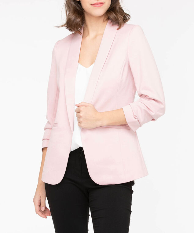 Shawl Collar Knit Open Blazer, Dusty Blush, hi-res