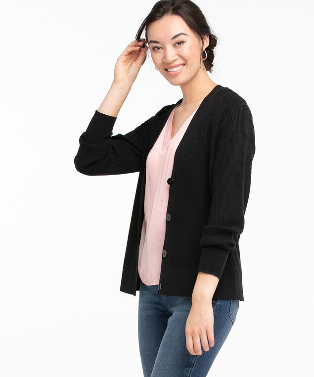 EcoVero™ Ribbed Button Front Cardigan, Black