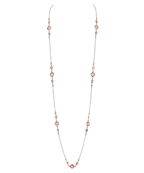Stationed Faceted Stone Necklace, Pastel Pink/Rhodium, hi-res