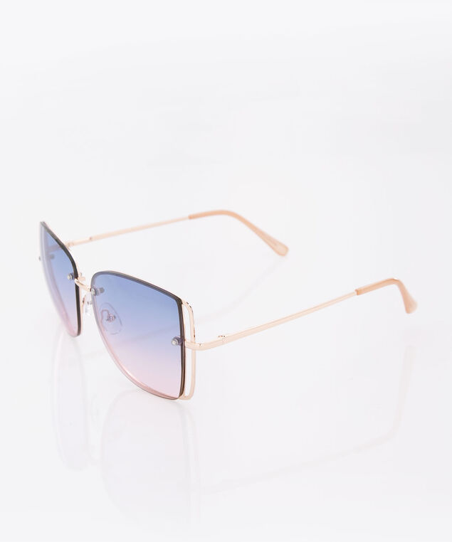 Square Cutout Ombre Sunglasses, Rose Gold/Blue/Pink, hi-res