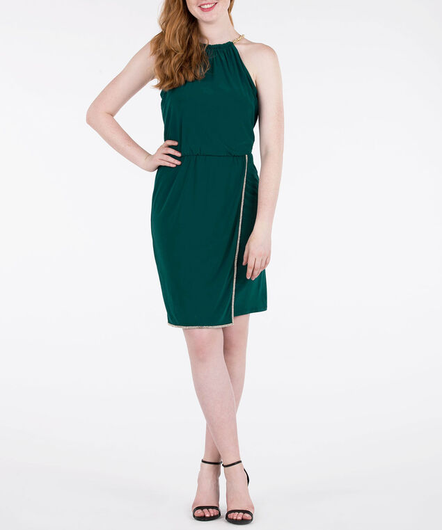 Crystal Trimmed Halter Dress, Emerald/Clear/Gold, hi-res