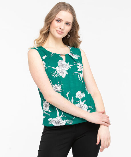 Sleeveless Keyhole Bubble Hem Top, Jade/Pearl/Black, hi-res