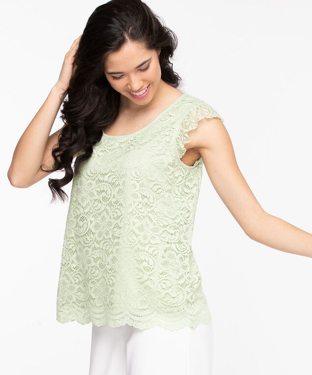 Lace Ruffle Sleeve Top, Sea Foam