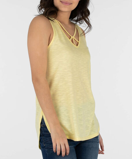 Cut-Out Neckline Tank Top, Soft Yellow, hi-res