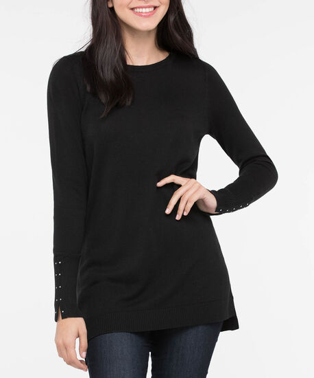 Stud Trim Step Hem Sweater, Black, hi-res