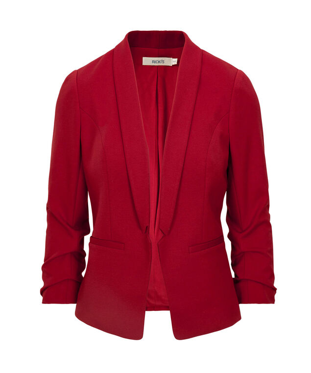 Knit Notch Collar Open Blazer, Poppy Red, hi-res