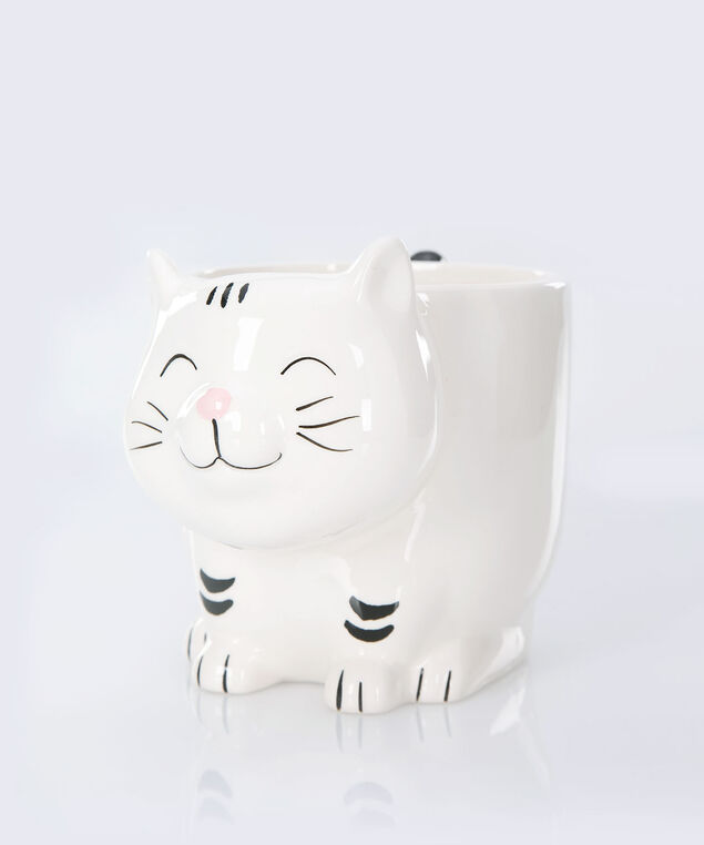 Kit-Tea Cat Coffee Mug, White/Black, hi-res