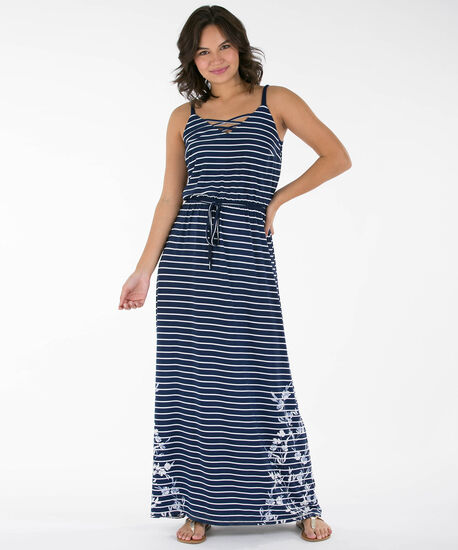 Strappy Maxi Dress, Ink Blue/White, hi-res
