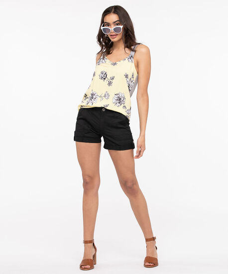Floral Challis Sleeveless Top, Sunshine/Light Heather Grey, hi-res