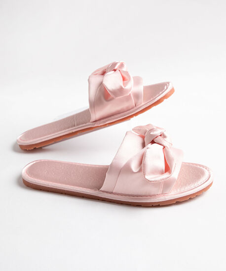 Satin Twisted Bow Slippers, Pink, hi-res