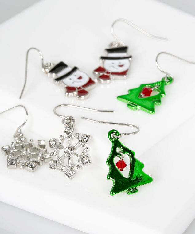 Holiday Earring Set, Rhodium/Bright Green/Crimson, hi-res
