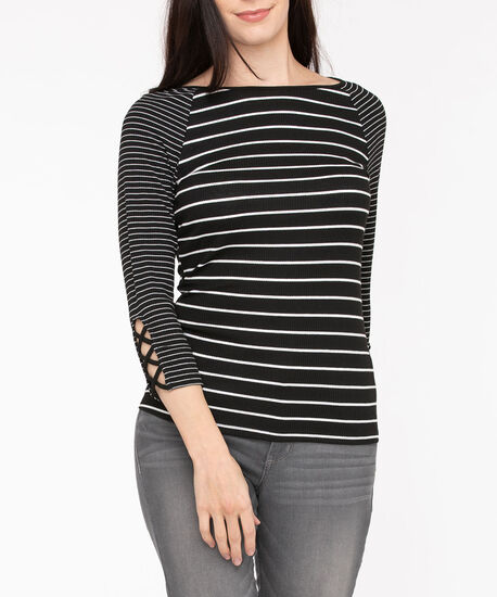 Rib Knit Criss Cross Sleeve Top, Black/Pearl, hi-res