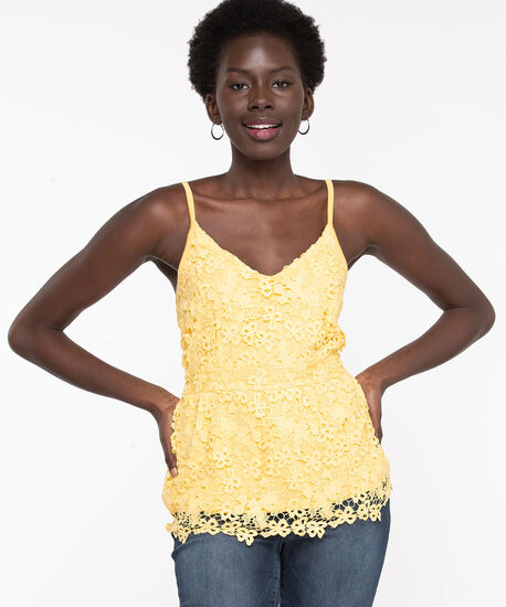 Yellow Strappy Lace Peplum Top, Yellow, hi-res