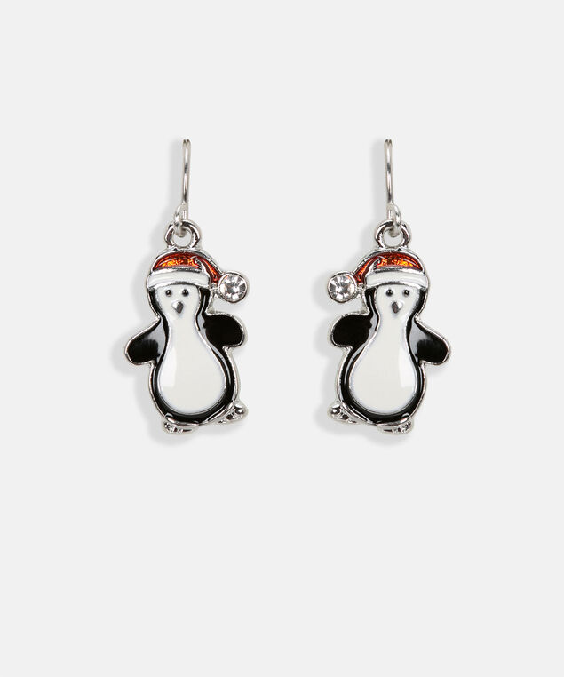 Festive Penguin Earring, Black/Pearl/Crimson, hi-res
