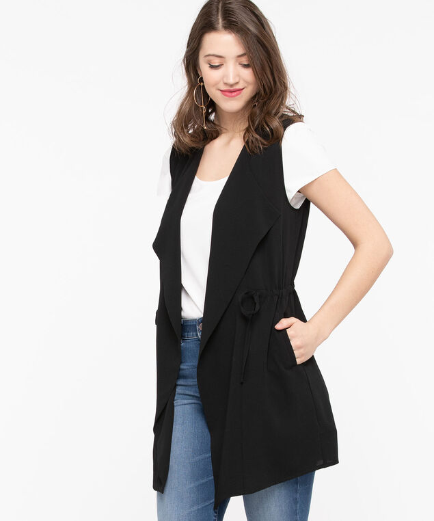 Bubble Crepe Longline Vest, Black, hi-res