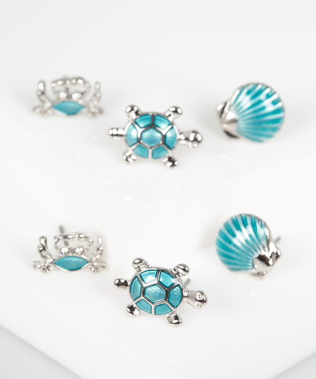 Beachy Earring Set, Pale Blue/Rhodium, hi-res