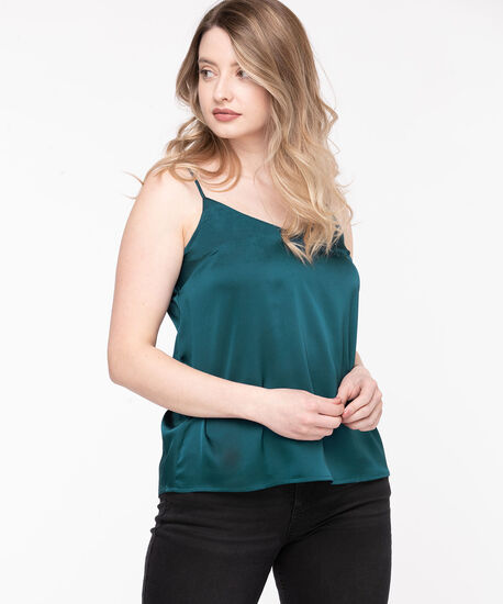 Strappy Satin V-Neck Blouse, Reef Waters, hi-res
