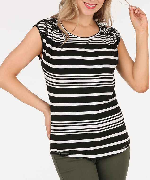 Pleated Cross-Lace Detail Top, Black/White, hi-res
