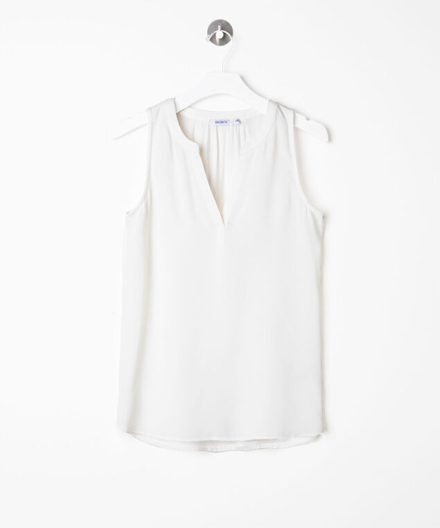 Sleeveless Mixed Media Henley Top, Pearl, hi-res