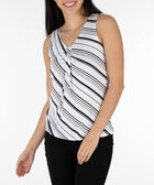 Sleeveless Tab Front Top, Black/White, hi-res