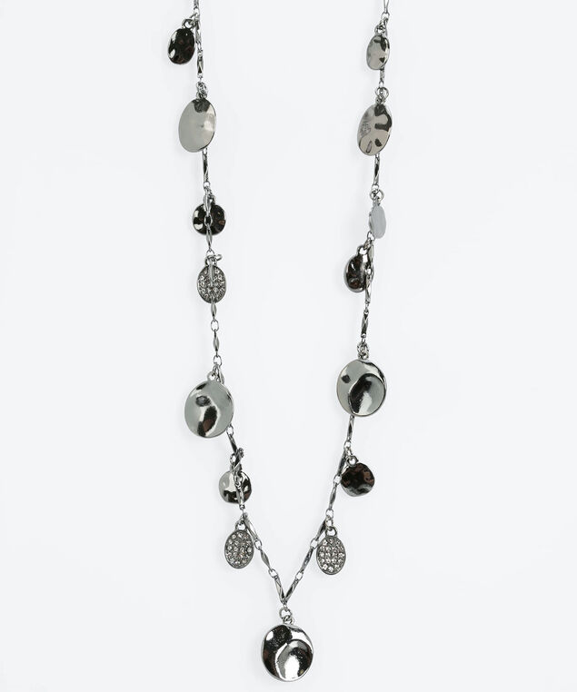 Stationed Crystal Disc Necklace, Hematite, hi-res