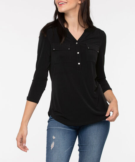 Roll Cuff Henley, Black, hi-res
