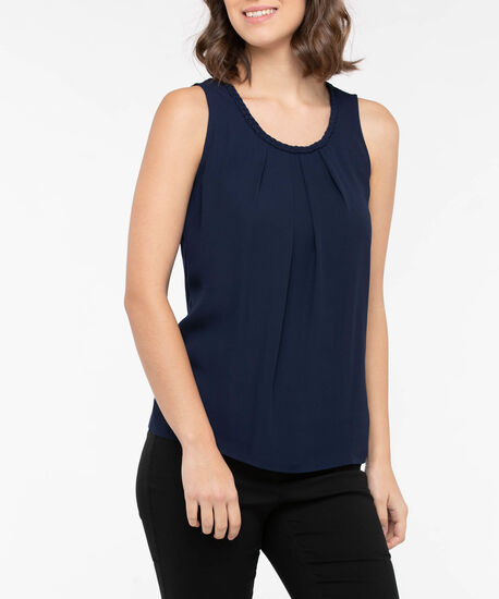 Braided Trim Gathered Overlay Top, True Navy, hi-res