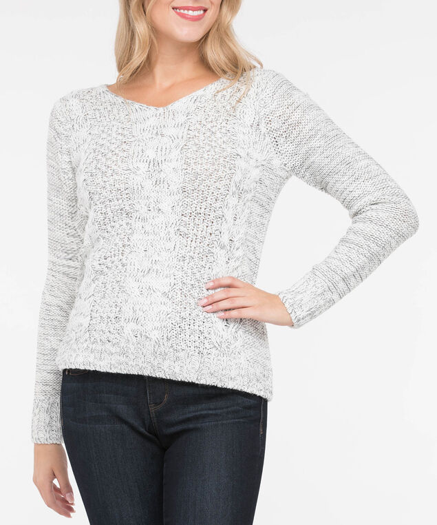 Cable Knit V-Neck Sweater, Pearl Mix, hi-res