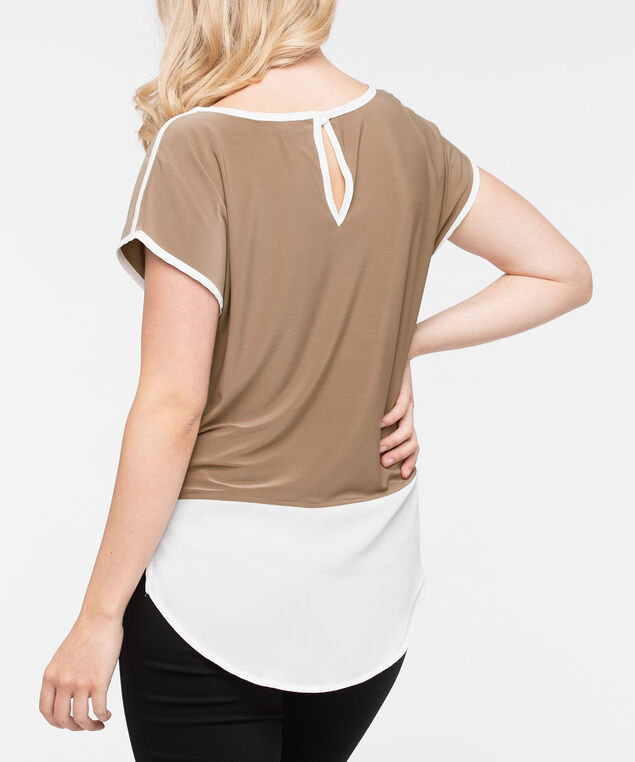 Short Sleeve Colourblock Fooler Top, Oatmeal/Pearl, hi-res