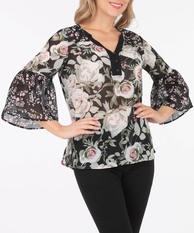 Flounce Sleeve Floral Blouse, Black/Sage/Cameo Pink/Pearl, hi-res