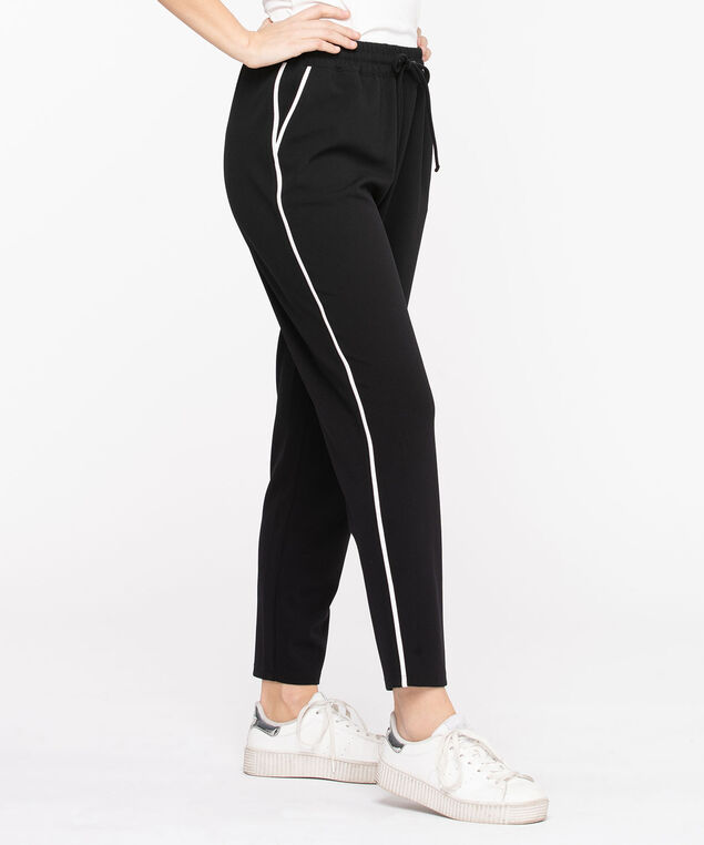 Piping Detailed Crepe Jogger Pant, Black/White