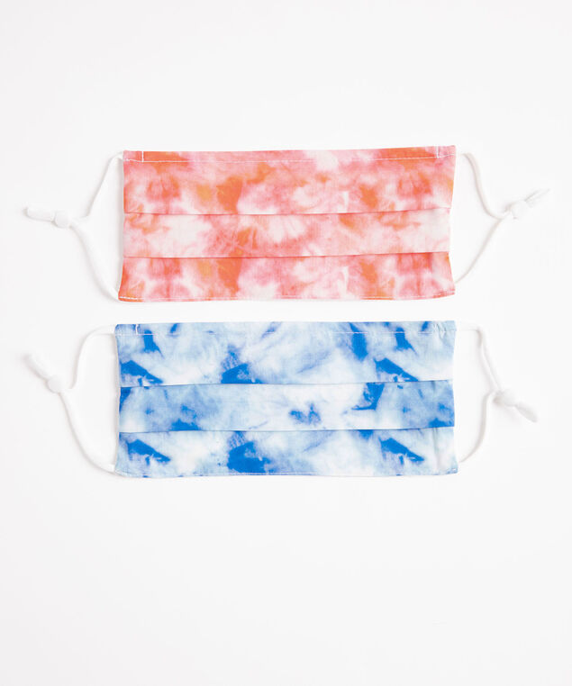 Cotton Face Mask 2-Pack, Pink/Blue Tie Dye