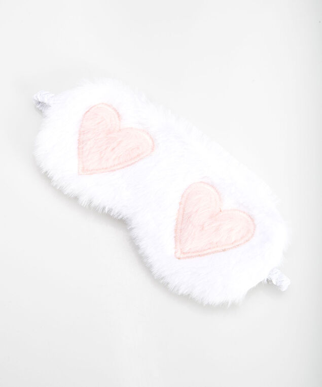 Hearts Faux Fur Sleep Mask, Pearl/Dusty Petal Pink, hi-res
