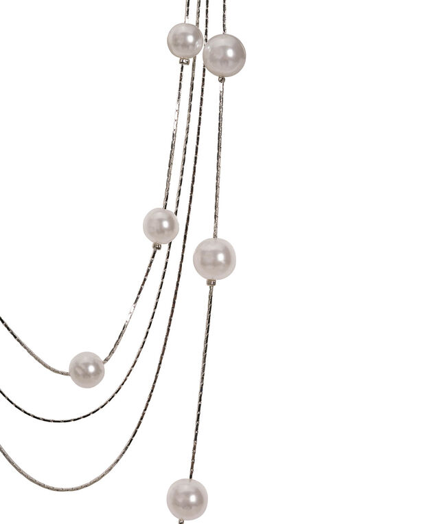 Long Stationed Pearl Necklace, White/Rhodium, hi-res