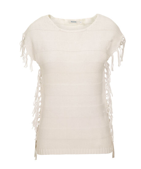 Fringed Cotton Pullover Sweater, True White, hi-res