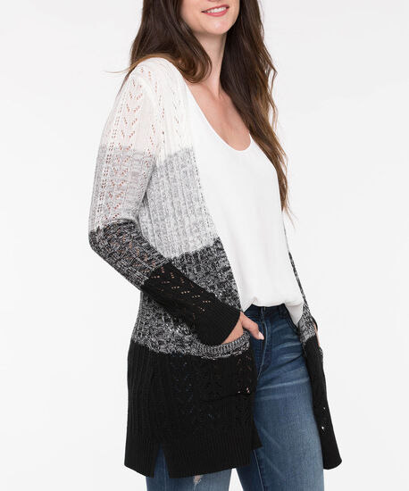Ombre Stripe Pointelle Open Cardigan, Black/Grey/Pearl, hi-res