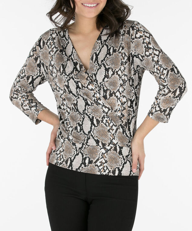 Snake Print Wrap Top, Brown/Black/Grey, hi-res