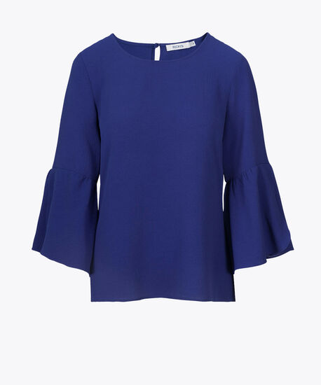Flounce Sleeve Scoop Neck Blouse, Mid Blue, hi-res