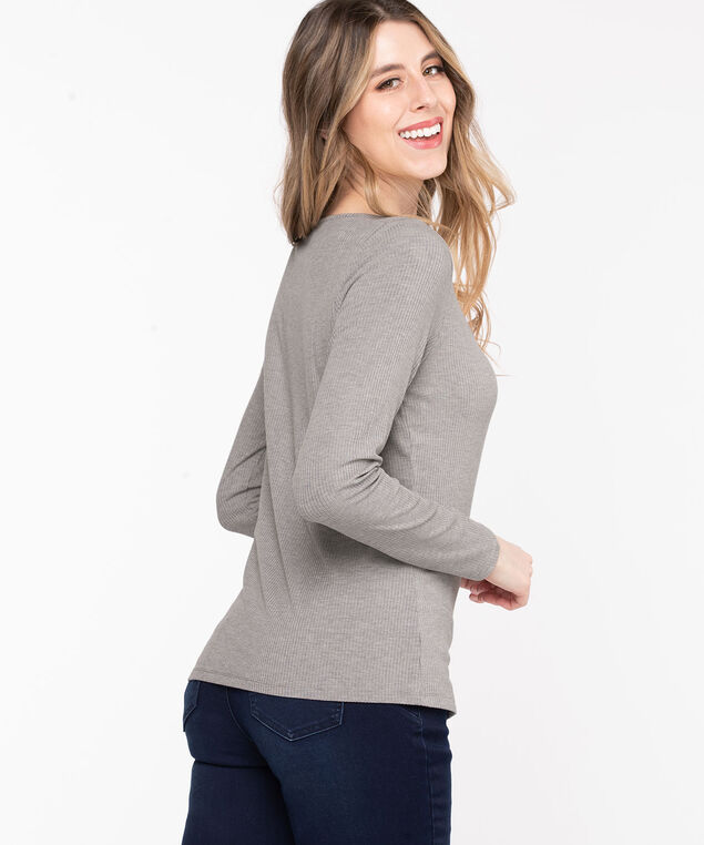 Scoop Neck Ribbed Henley, Light Heather Grey