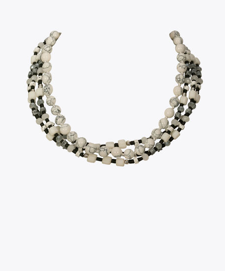 STONE & BEAD MULTI-STRAND STATEMENT NECKLACE, Grey/Black, hi-res