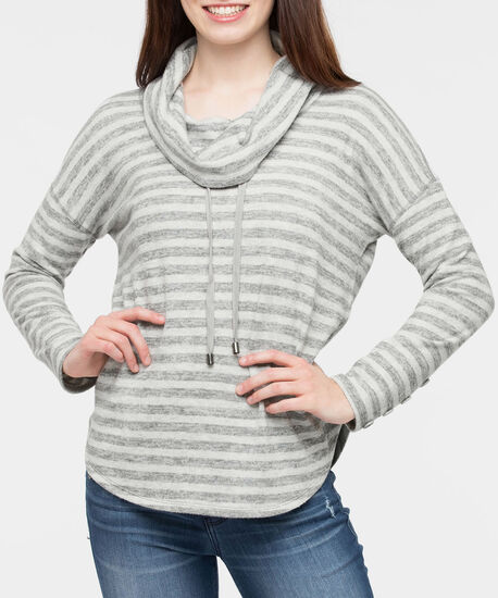 Striped Funnel Neck Pullover Top, Charcoal/Light Grey, hi-res