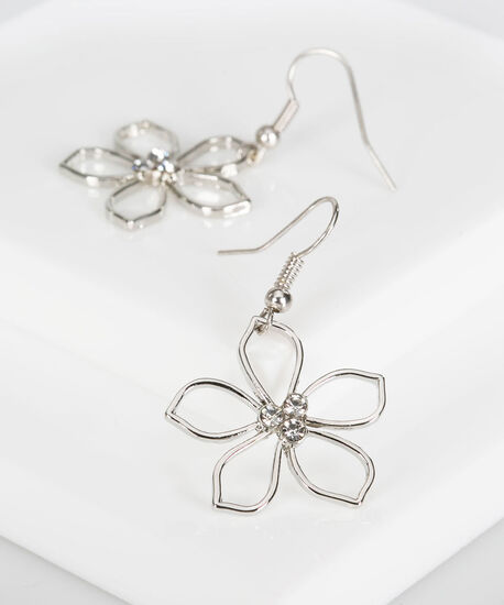 Cutout Crystal Flower Earring, Rhodium, hi-res