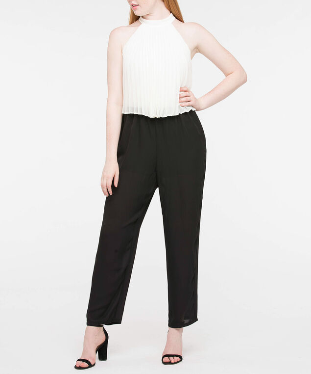 Pleated Popover Jumpsuit, Ivory/Black, hi-res