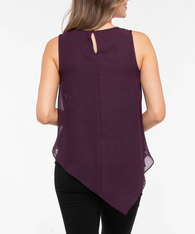 Beaded Neck Asymmetrical Hem Top, Berry, hi-res