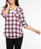 Roll Sleeve Henley Blouse, Burgundy/Pearl, hi-res