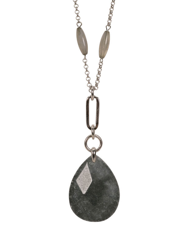 Long Stone Pendant Necklace, Grey/Rhodium, hi-res