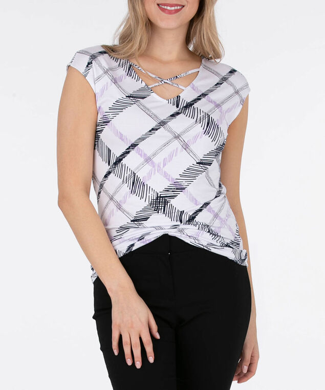 Cross Front Extended Sleeve Top, White/Black/Iced Violet, hi-res