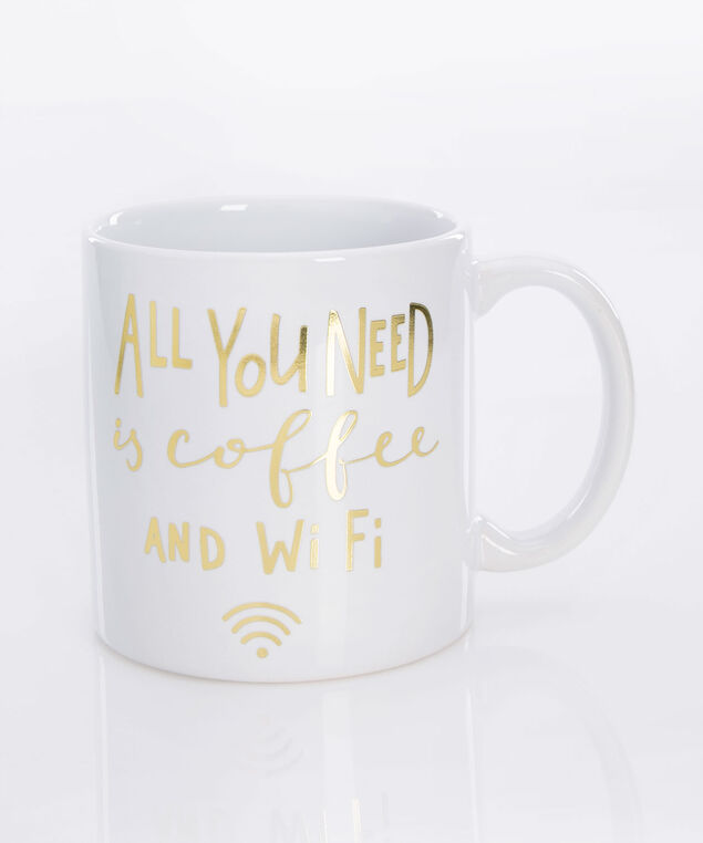 Coffee & Wifi Jumbo Mug, True White/Gold, hi-res