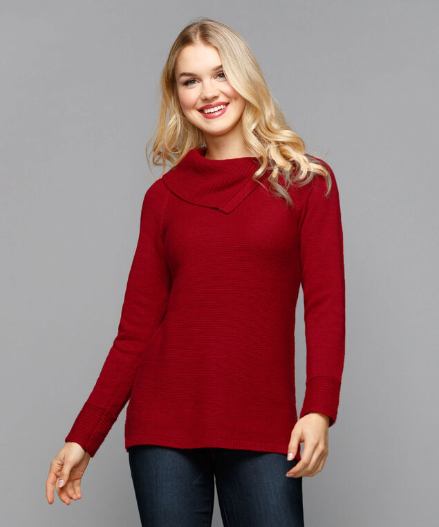 Split Cowl Neck Sweater, Cherry, hi-res